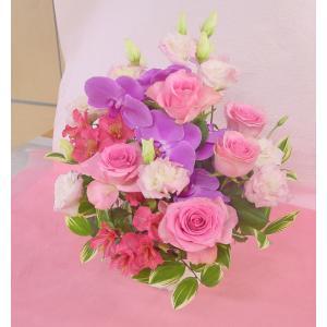 ピンク系アレンジ 大き目・華やか お花屋さんにおまかせ フラワーギフト|hana-mizuki|02