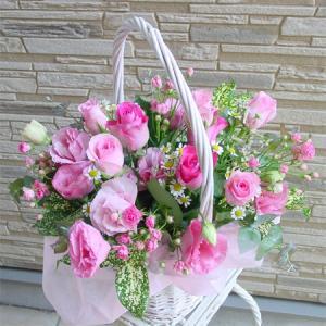 ピンク系アレンジ 大き目・華やか お花屋さんにおまかせ フラワーギフト|hana-mizuki|04