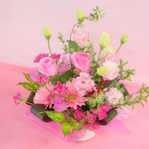 ピンク系アレンジ 大き目・華やか お花屋さんにおまかせ フラワーギフト|hana-mizuki|05