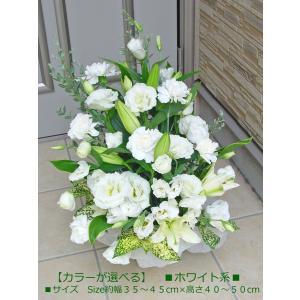 白いユリのお供えアレンジ 命日・お悔やみに hana-mizuki 03