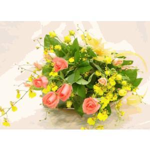 黄色のオンシジューム蘭とピンクのバラの花束 花束 フラワーギフト ロングタイプ|hana-mizuki