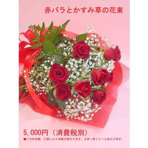 赤バラとかすみ草の花束 フラワーギフト ロングタイプ 長めの花束|hana-mizuki