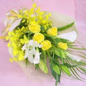 黄色いバラと黄色いオンシジューム蘭の花束 長めの花束 フラワーギフト|hana-mizuki