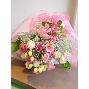 トルコギキョウとかすみ草 ピンク系 花束 フラワーギフト ロングタイプ|hana-mizuki