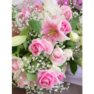 かすみ草とユリの花束 ピンク系 フラワーギフト ロングタイプ 長めの花束|hana-mizuki