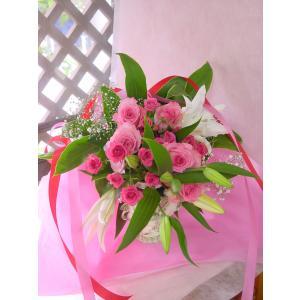 かすみ草とユリの花束 ピンク系 フラワーギフト ロングタイプ 長めの花束|hana-mizuki|02