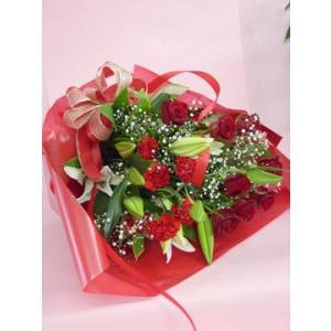 かすみ草とユリの花束 ピンク系 フラワーギフト ロングタイプ 長めの花束|hana-mizuki|03