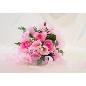 ピンク系 短めの花束 お花屋さんにおまかせブーケ風  フラワーギフト|hana-mizuki