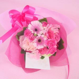 ピンク系 短めの花束 お花屋さんにおまかせブーケ風  フラワーギフト|hana-mizuki|02