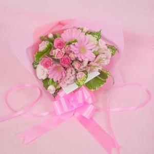 ピンク系 短めの花束 お花屋さんにおまかせブーケ風  フラワーギフト|hana-mizuki|03