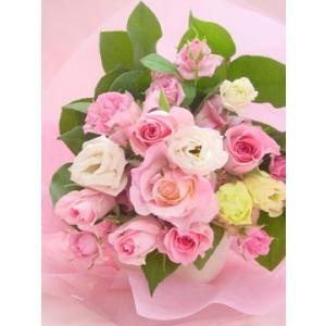 ピンク系 短めの花束 お花屋さんにおまかせブーケ風  フラワーギフト|hana-mizuki|04