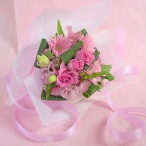 ピンク系 短めの花束 お花屋さんにおまかせブーケ風  フラワーギフト|hana-mizuki|07
