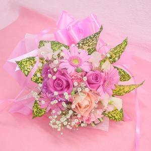 かすみ草とピンク系 短めの花束 お花屋さんにおまかせ ブーケタイプ フラワーギフト|hana-mizuki