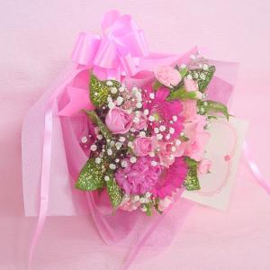かすみ草とピンク系 短めの花束 お花屋さんにおまかせ ブーケタイプ フラワーギフト|hana-mizuki|03