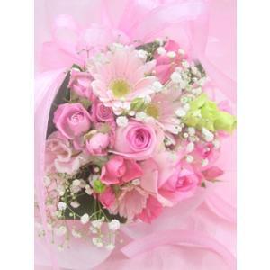かすみ草とピンク系 短めの花束 お花屋さんにおまかせ ブーケタイプ フラワーギフト|hana-mizuki|05