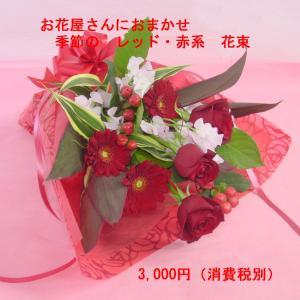レッド系 花束 短めタイプ ブーケ風 お花屋さんにおまかせ フラワーギフト|hana-mizuki