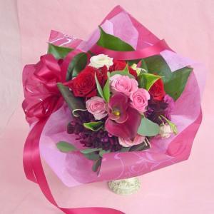 レッド系 デザイン花束 短めのブーケタイプ お花屋さんにおまかせ花材 フラワーギフト |hana-mizuki|02