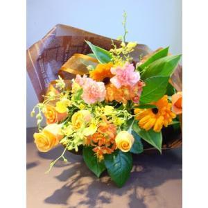 イエロー系 長めの花束 お花屋さんにおまかせ フラワーギフト|hana-mizuki