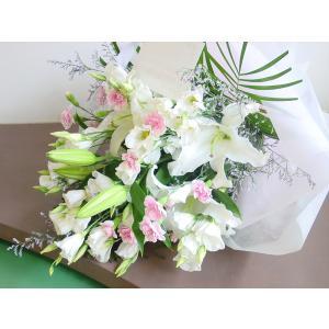 白いユリとピンクのお花のお供え花束 ロングタイプ 長めの花束 通夜・葬儀にも|hana-mizuki