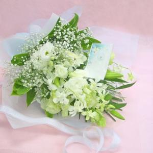 季節の蘭入り 洋風花材のお供え花束  ホワイト ロングタイプの花束|hana-mizuki