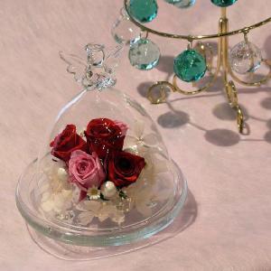 エンジェルグラス(ガラスドーム)・プリンセスレッド-送料、ギフト用ラッピング、メッセージ無料。|hana-sandlot
