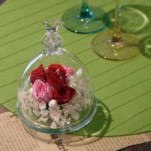 ベアグラス(ガラスドーム)・プリンセスレッド-送料、ギフト用ラッピング、メッセージカード無料。|hana-sandlot
