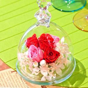 ベアグラス(ガラスドーム)・プリンセスレッド 誕生日プレゼント 女性 結婚祝い 結婚記念日 ブリザードフラワー 新築祝い お祝い プリザ|hana-sandlot