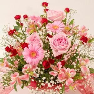お祝い用アレンジメント(ピンク系)。送料・手数料無料。メッセージカード付。|hana-sandlot