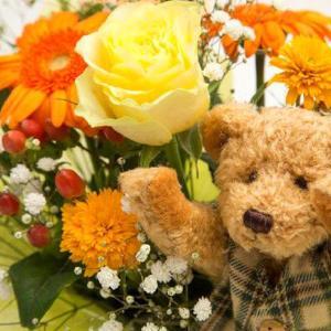 お祝い用アレンジメント(クマさん人形付)。送料・手数料無料。メッセージカード付。|hana-sandlot