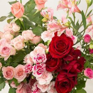 おまかせアレンジメント(お祝い用・レッド・ピンク系)。送料・手数料無料。メッセージカード付。|hana-sandlot