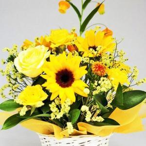 お祝いアレンジ イエロー オレンジ系 誕生日 結婚祝い 記念日 サマーギフト お祝いプレゼント|hana-sandlot