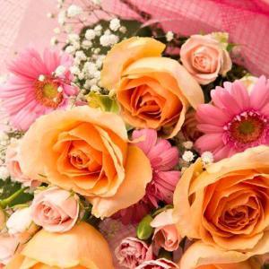 お祝い用花束(バラ・オレンジ)。送料・手数料無料。メッセージカード付。 hana-sandlot