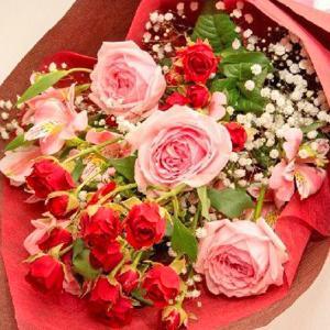 お祝い用花束(バラ・ピンク)。送料・手数料無料。メッセージカード付。 hana-sandlot