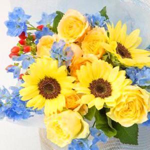 お祝い用花束(ひまわり・プラチナブルー)。送料・手数料無料。メッセージカード付。 hana-sandlot