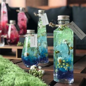 青いあじさいと緑の実が美しいグラデのハーバリウム 父への贈り物に 結婚祝い インテリア装飾に ケース...