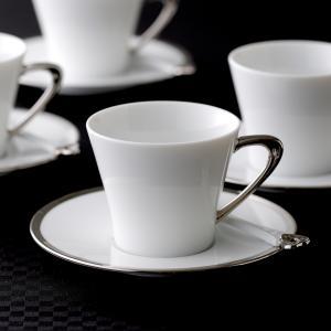 アルジャン コーヒーカップ&ソーサー ホワイト プラチナハンドル キャッシュレス 還元|hana2