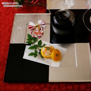 アルジャンIII 銀箔市松 正角サービングトレー 33.2cm 漆器 キャッシュレス 還元|hana2