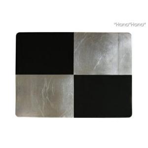 アルジャンIII 銀箔市松 長角折敷 43.5x32.8cm 漆器 キャッシュレス 還元|hana2