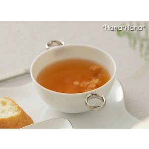 デジュネ 両手付きスープカップ 310cc ホワイト 取っ手プラチナ キャッシュレス 還元|hana2