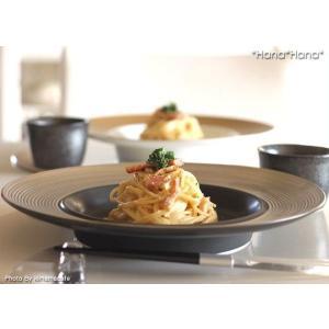 ディモーダ ブラック/プラチナ スープパスタ皿 28cm シルバー キャッシュレス 還元|hana2