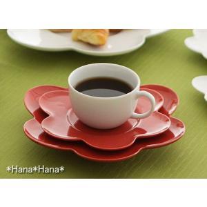 フルール コーヒーカップ&花型ソーサー レッド キャッシュレス 還元|hana2