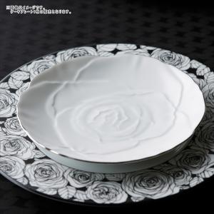 ローゼ 薔薇 ケーキプレート 19cm ホワイト プラチナライン キャッシュレス 還元|hana2