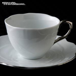 ローゼ 薔薇 コーヒーカップ 210cc ホワイト 取っ手プラチナシルバー キャッシュレス 還元|hana2