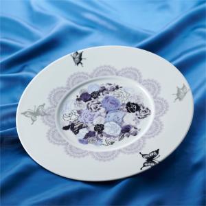 Shinzi katoh ガルテン ナビ 薔薇 蝶 サービスプレート 31cm パープル (お取り寄せ品) キャッシュレス 還元|hana2