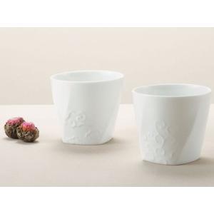 サンゴー 白磁ペアカップ 吉祥 (お取り寄せ品) キャッシュレス 還元|hana2