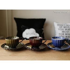 カネコ小兵 ぎやまん陶 菊形コーヒーカップ&ソーサー ブルー/ブラウン/グリーン キャッシュレス 還元|hana2