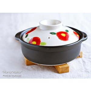 椿(つばき) 6号土鍋 レッド 1人用 キャッシュレス 還元|hana2
