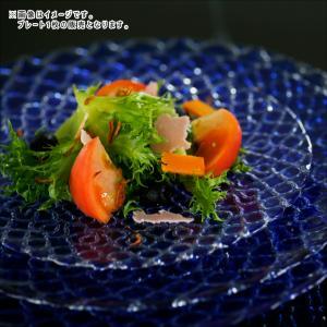 ハナ プレート 21cm ブルー ガラス キャッシュレス 還元|hana2