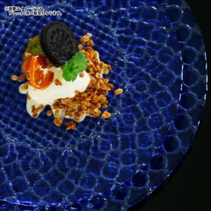 ハナ プレート 28cm ブルー ガラス キャッシュレス 還元|hana2