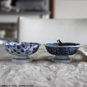 藍染 花型高台小鉢 12cm たこ唐草/いちご/ぶどう キャッシュレス 還元|hana2